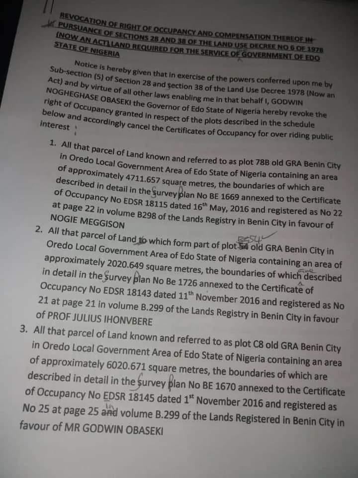 Edo Govt. Revokes Choice Properties Illegally