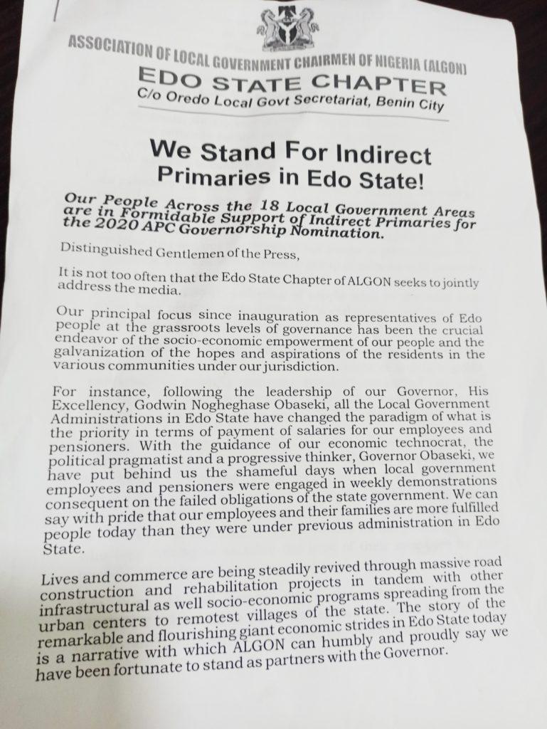 Edo 2020: ALGON kicks against direct primaries