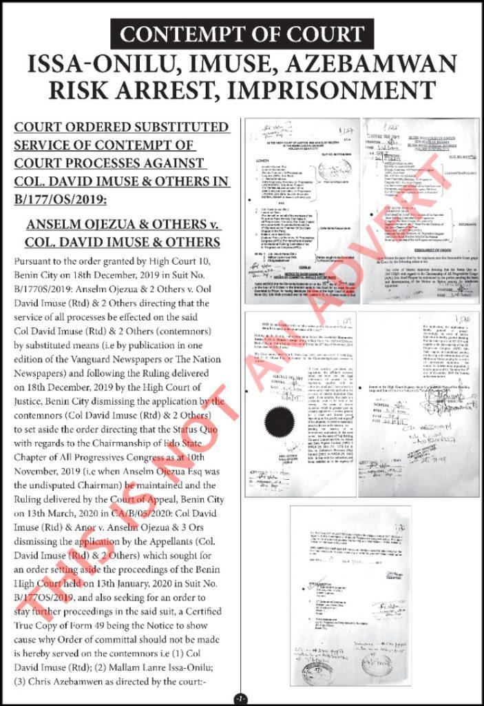 Contempt of Court: Issa-Onilu, Imuse, Azebamwan